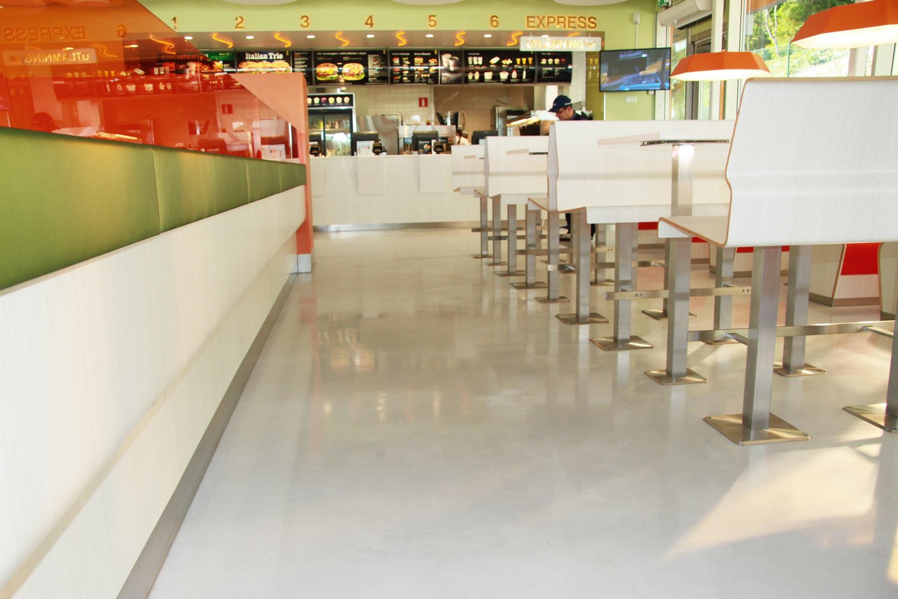 Slittåliga golv på Max-restaurang